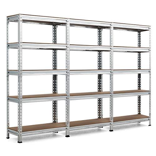 Tangkula 5-Tier Storage Shelves, 60in Heavy Duty Steel Frame Garage Shelf w/Adjustable Shelves, Boltless Shelving Unit for Free Combination, Metal Storage Shelving Unit, Silver Galvanized (3)