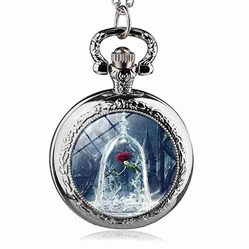 WANGMIN Mode Film Schönheit Und Das Biest Blumenmuster Taschenuhr Frauen Kinder Anhänger Halskette Schmuck Uhren Geschenk Taschenuhr-8.24 (Farbe : Silber)