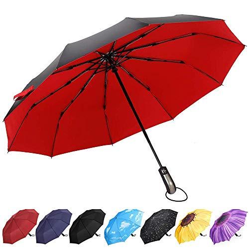 YumSur Ombrello Pieghevole Automatico, Antivento Ombrello portatile Resistenza Compatto Pioggia Ombrello da Viaggio per Uomo e Donna, 210 Teflon con 10 Stecche Rinforzate Anti-vento Rosso