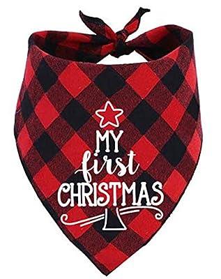 JPB Dog First Christmas Bandana,Red Plaid Xmas Puppy Scarf