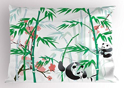 """Lunarable Bambus Kissen Sham, Giant Woody Gras Bambus und Panda Bär in Chinesisch Tropen Artsy Print, Dekorative Standard Größe Gedruckt Kissenbezug, Pink Grün Weiß Schwarz 30\"""" W by 20\"""" L Multi 1"""