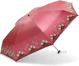 SHANGRUIYUAN-Umberllas Folding Umbrella Ultra-Light Floral Umbrella Fashion Ladies 7 Bones Rain UV Cut Protection Umbrella (Color : Red, Size : Free)