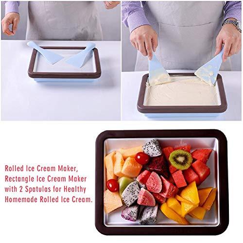 Greatideal Ice Cream Rolling Grill Maker Rotoli di Ghiaccio Fai-da-Te con 2 spatole per Un Sano rettangolo di Gelato Arrotolato Fatto in casa