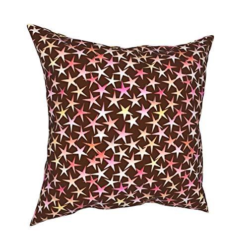 Fundas de almohada, diseño de estrellas de satén, color rosa sobre chocolate, fundas de cojín cuadradas para sofá, sala de estar, cama, 45,7 x 45,7 cm