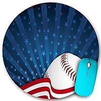 KAPANOU ラウンドマウスパッド カスタムマウスパッド、Baseball America Print、PC ノートパソコン オフィス用 円形 デスクマット 、ズされたゲーミングマウスパッド 滑り止め 耐久性が 200mmx200mm