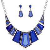 YAZILIND vendimiae Azul Collar étnico Tibetano de Plata Irregular Diamante de...