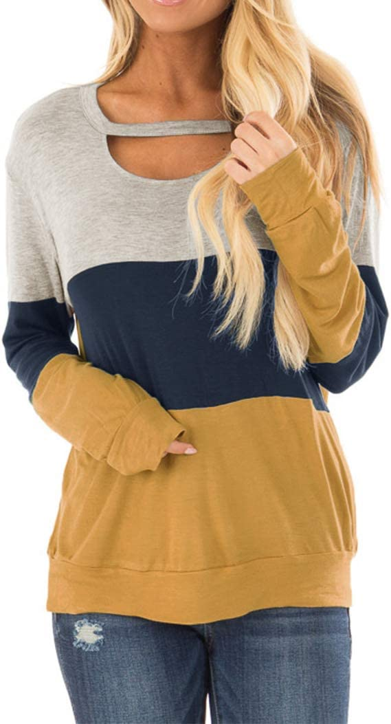 Topstype Women's Color Block Chest Cutout Tunics Long Sleeve Shirts Scoop Neck Blouse Casual Loose Tops