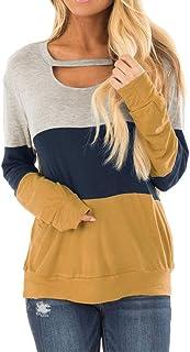 Women's Fall Color Block Chest Cutout Tunics Long Sleeve...