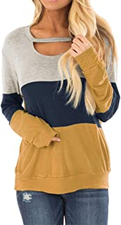 Women's Color Block Chest Cutout Tunics Long Sleeve...