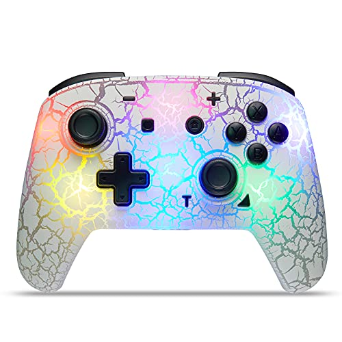 Switch Controller, Wireless Switch Pro Controller for Switch/Switch Lite, 8 Colors Adjustable LED Wireless Remote Gamepad with Unique Crack/Turbo/Dual Shock/Motion Control (White)