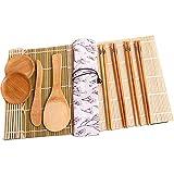 DXIA 11 Piezas Kit para Hacer Sushi de Bambú, Kit de Fabricación de Sushi de Bambú Incluye, 2 Esterillas, 4 Pares de Palillos, 1 Paleta, 1 Cuchilla de Sushi, 2 Plato Pequeño, 1Esparcidor de Arroz