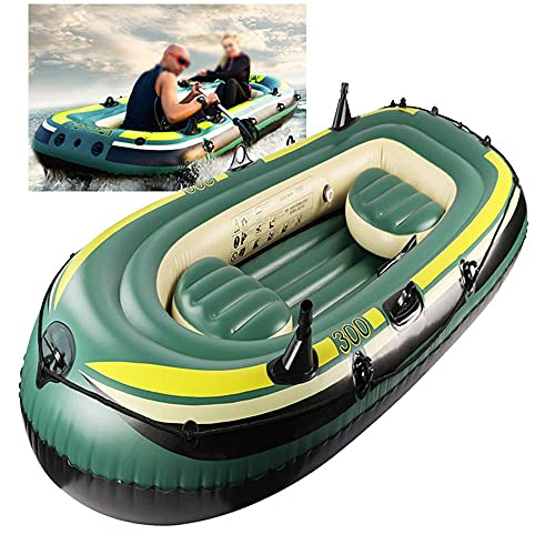 WBJLG Inflatable Boats for Adults 3 Person, Thickened Hovercraft Wear-Resisting Kayak Assault Rubber Boats Dinghies for Fishing