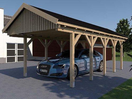 Carport Satteldach LE MANS IV 400cm x 700cm KVH Bausatz Konstruktionsvollholz Fichte