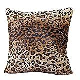 WANGLUYAO Funda de Almohada Corta de Felpa con Estampado de Leopardo Funda de cojín de sofá Cuadrado Funda de Almohada para decoración del hogar, 60x60 cm, Paquete de 2-re