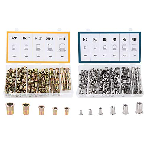 CO-Z 340pc. SAE&Metric Rivet Nuts Tool Kit, Flat-Head Threaded Insert Nuts Assortment, Including Sizes #8-32#10-24 1/4-20 3/8-16 5/16-18 M3 M4 M5 M6 M8 M10, Stainless Steel & Zinc-Plated Carbon Steel