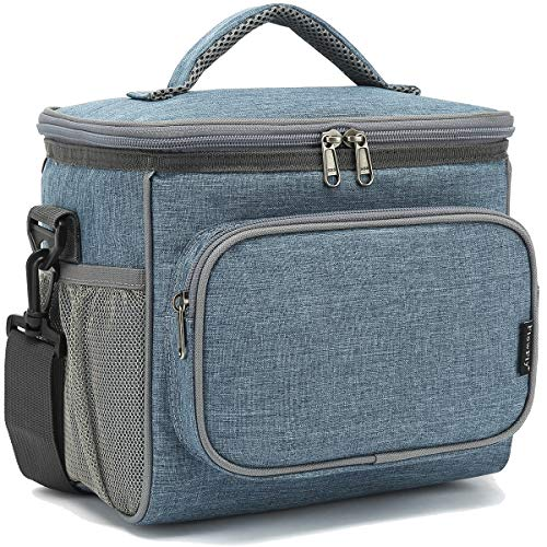 Insulated Reusable Lunch Bag Adult Large Lunch Box for Women and Men with Adjustable Shoulder Strap,Front Zipper Pocket and Dual Large Mesh Side Pockets by FlowFly,Navy