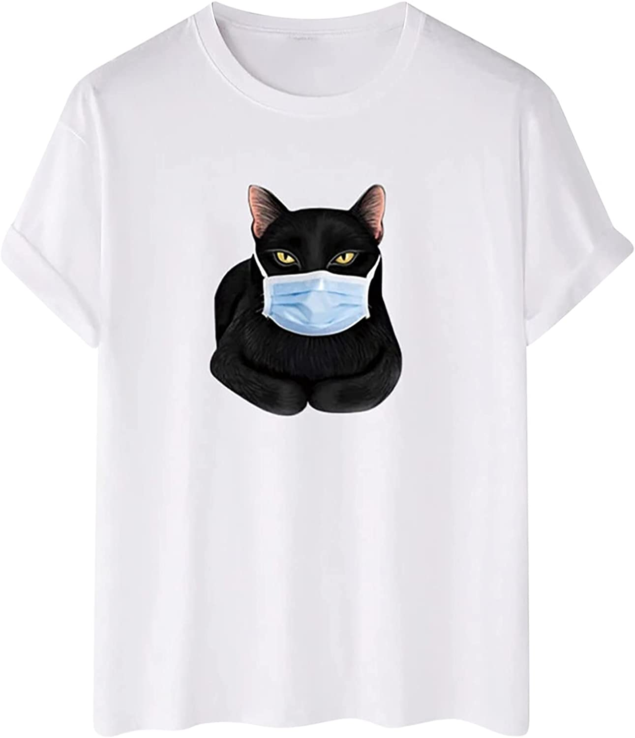 Men's Daily Shirt O-Neck Short Sleeve T Shirt Cat with Mask Print Tunic Summer Casual Loose Blouse Fit Tee Top