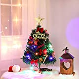 Artiflr Tabletop Christmas Tree, 20 Inch Artificial Christmas Tree Battery Operated Lighted Mini Christmas Tree with 20 LED String Light for Christmas Decorations, Home Décor