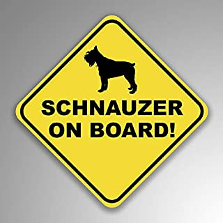 JMM Industries Schnauzer On Board Vinyl Decal Sticker Car Window Bumper 2-Pack 4-Inches by 4-Inches Premium Quality UV Protective Laminate PDS1257