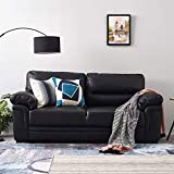 3 <span class='highlight'>Seater</span> <span class='highlight'>Faux</span> <span class='highlight'>Leather</span> <span class='highlight'><span class='highlight'>Sofa</span></span> Living Room Lounge Room Couch Settee in Black
