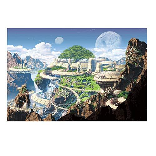SUNYUR ファンタジー 1000ピース 森 シティー 街 城 部族 くねくねとした山道 風景画 木製ジグソーパズル ホーム フォトフレーム 壁飾り