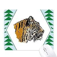 タイガーヘッドクローズアップ王の野生動物 オフィスグリーン松のゴムマウスパッド