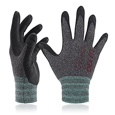 DEX FIT Nitrile Work Gloves FN330, 3D Comfort Stretch Fit, Power Grip, Smart Touch, Durable Foam Coated, Thin & Lightweight, Machine Washable, Black Gray Large 12 Pairs