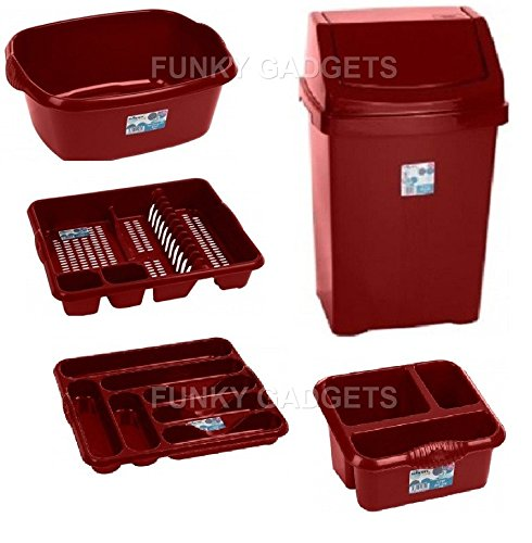 50l Liter Swing Waste Bin 5pc Pcs Chilli Red Set Dish Drainer Cutlery Tray Tidy Washing Up Bowl Sink Tidy Kitchen Set Buy Online In Guam At Desertcart Productid 49994207