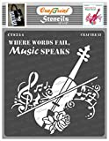 CrafTreat Music Stencils for Painting Large Pattern - Music Speaks - 12x12 Inches - Reusable DIY Art and Craft Stencils - Music Notes Stencil Template - Violin Stencil TemplatesMusic