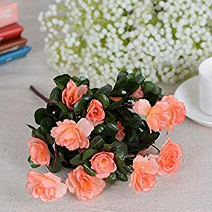 Silk Flower Arrangements Fall Outdoor Artificial Red Azalea Flowers Bushes UV Resistant Fake Flowers Home Decor Small Decorations for Garden