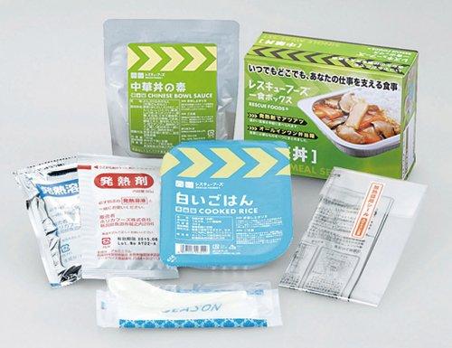 レスキューフーズ一食ボックス中華丼3年保存非常食・備蓄用白いごはん200g、中華丼の素180g