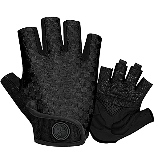 TEUEN Fahrradhandschuhe Halbfinger MTB Handschuhe Herren Damen mit 5mm SBR Palm Pads, Atmungsaktiv Anti-Rutsch Radhandschuhe Mountainbike Handschuhe Sommer (Schwarz, M)