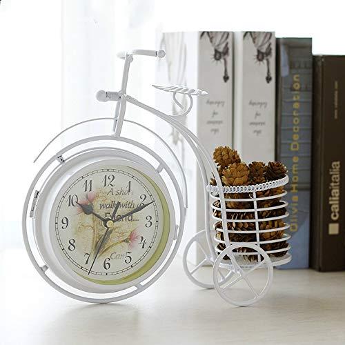 Bicicleta De Hierro Forjado Creativa Reloj De Doble Cara Reloj De Cuarzo Mudo Flor De Agua Flor Reloj Electrónico Sala De Estar Decoración Adornos Reloj De Bicicleta Blanca