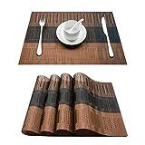 Topfinel Platzsets Abwischbar 4er Tischsets Abwaschbar Abgrifffeste Hitzebeständig Platzmatten mit Bambus-Optik für Küche mit Kontrastfarbe Braun und Schwarz 30x45