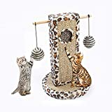 MZH Poste rascador de Gato Tablero de Papel Corrugado extraíble con 2 Bolas de sisal Estampado de Leopardo Plato rascador de Gato Juguetes para Gatito Kitty