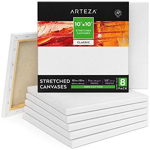 ARTEZA Lienzos blancos estirados e imprimados | 25,4x25,4 cm | Pack de 8| 100% algodón | Lienzos de pintura acrílica, óleo y medios húmedos | Para artistas profesionales, aficionados y principiantes