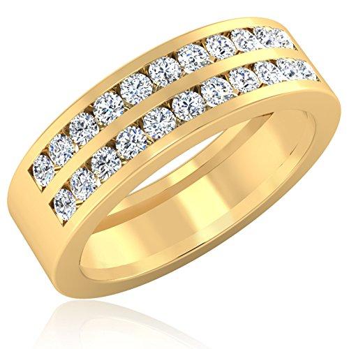 0.88ct naturale fascia di fidanzamento di nozze di diamante anelli da uomo in oro giallo 14K taglio rotondo All taglia U V W x (W)