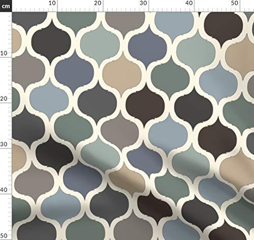Fliese, Marokkanisch, Blau, Grün, Maurisch Stoffe - Individuell Bedruckt von Spoonflower - Design von Gail Mcneillie Gedruckt auf Leinen Baumwoll Canvas