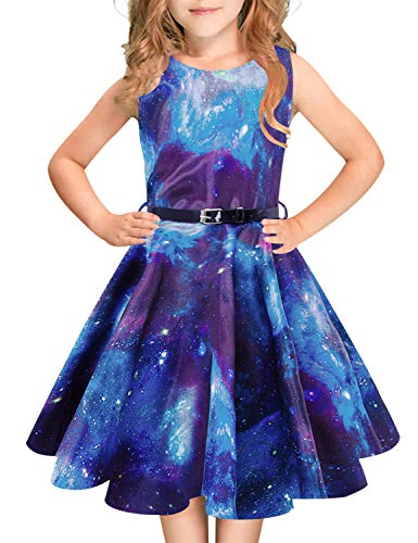Idgreatim Mädchen Halloween Sommerkleid Kürbis 1950 Rockabilly Swing Sommerkleid, Galaxy Blue, Gr.- 7-8 Jahre/ Medium