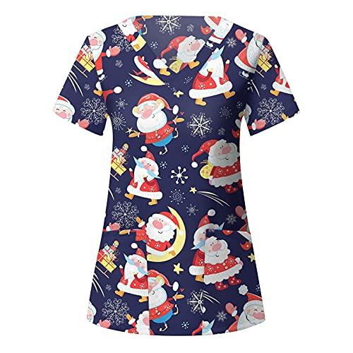 Women's Halloween Scrubs Tops Funny Pumpkin Ghost Print Workwear Shirts with 2 Pockets V-Neck Sleeve TShirt Working Uniform Medical Doctor Nursing Nurse Cute Skeleton Animal Cartoon Christmas