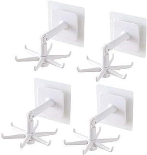 フック強力粘着フック 壁けフック 多用途 キッチン用 オフィス用 浴室 お風呂 壁掛け用貼り付け跡なし耐荷重3KG (ホワイト, 4個)