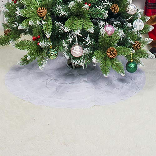 Yiwa 80 cm effen plissé kant boom rok party kerstdecoratie huis