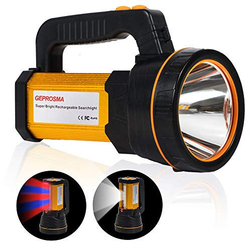 High Lumen Powerful Rechargeable Spotlight Flashlight CREE LED Super Bright Searchlight 4 Batteries 10000mah Hand held Spot Search lights Large Heavy Duty Waterproof Marine Boat Torch Portable Lantern