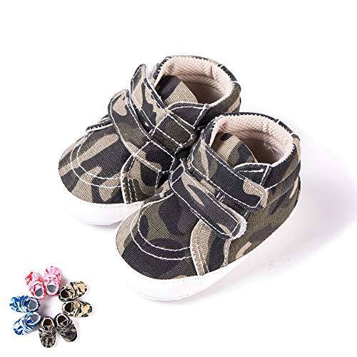 Morbuy Zapatos de Primeros Pasos Bebe Camuflaje Recién Nacido Cuna Suela Niño y Niña Blanda Antideslizante Zapatillas (1 / 11cm / 0-6 Meses, Camuflaje Verde Oscuro)