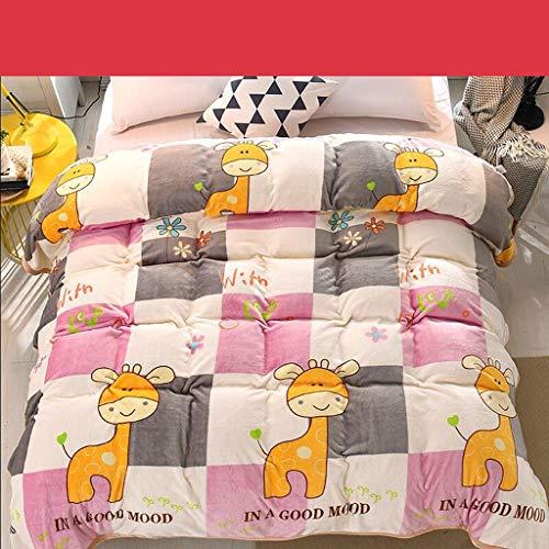 Willlly Worth Having Pink dier afbeelding chic bed casual quilt flanel verdikking warm student winter bladeren (grootte 150 * 200Cm)