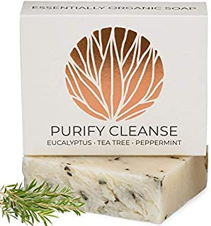 Eucalyptus Tea Tree Peppermint Soap Bar Artisan Hand Made | 100% Organic Natural & Non Toxic | Face & Body Wash for Combination and Oily Skin, Acne, Eczema - 4.5ozREVERENCE NATURALS