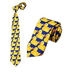 Idea Regalo - Cravatta con Paperelle Blu e Giallo, Cravatta Originale , Cravatta Fantasia, Travestimento