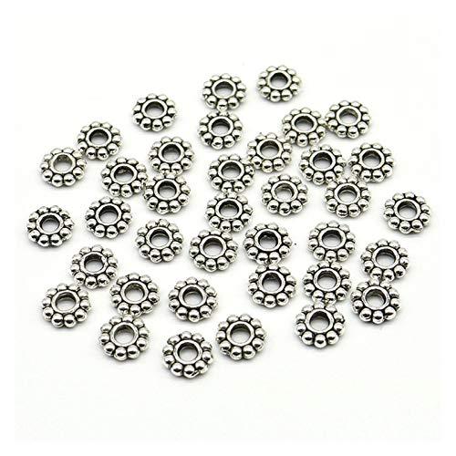 WESET 6mm Flor De La Margarita Espaciadores De Bolas De Metal Color Plata Tibetano Rebordea For La Joyería Fabricación del Agujero Es De 2 Mm (Color : Vintage Silver, Size : 6mmx100pcs)