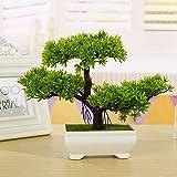 Zak168 árbol de bonsái artificial, decoración de plantas falsas, simulación de invitados, decoración de bonsái en maceta de pino para el hogar, oficina, jardín zen, verde, tamaño libre
