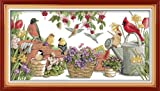 Cross Stitch Counted Kits Stamped Kit Cross-Stitching Pattern for Home Decor, 14CT White Fabric Embroidery...